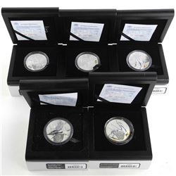 Sochi 2014 Russia Olympics Group (5) 925 Silver Coins, 3 Roubles, Issued by Bank of Russia, Each Coi