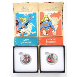 Lot (2) .9999 Fine Silver $10.00 Coins DC Comics Unity and Strength. LE/C.O.A.