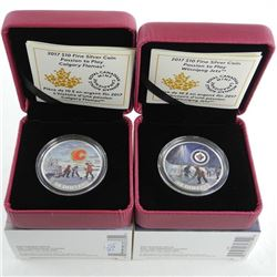 Lot (2) .9999 Fine Silver $10.00 Coins 'Calgary and Winnipeg' Logo's LE/C.O.A.