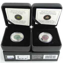 Lot (2) .9999 Fine Silver and Niobium $5.00 Coins 'Mother, Father and Baby, Ice Fishing' 'Aboriginal