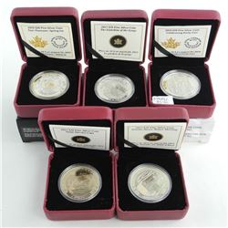 Lot (5) Diff - Group of Seven .9999 Fine Silver $2000 Coins LE/C.O.A. Art images
