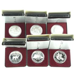 Lot (6) .500 Silver Canada Cased Dollars