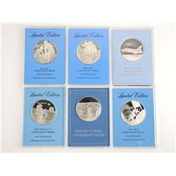 The Franklin Mint (6) Solid 925 Sterling Silver Medals with Displays All Proof