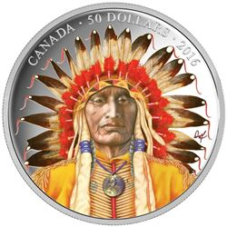 2016 .9999 Fine Silver $50.00 Coin 'WANDUTA' Portrait of a Chief 5oz ASW. LE/C.O.A. 1200 Mintage