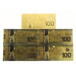 (5) 24kt Gold Leaf 100.00 Bank notes - CANADA