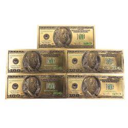 (5) 24kt Gold Leaf 100.00 Bank notes - USA