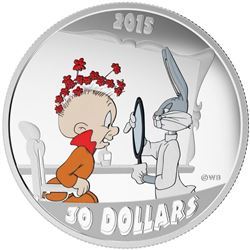 Warner Bros/RCM Looney Tunes Series .9999 Fine Silver $30.00 Coin 'Elmer Fudd' Includes Wood Case Di