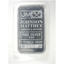 JM .999 Fine Silver Bar 1oz Troy OZ ASW