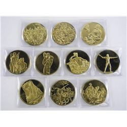 Group of (10) Artistic Medals Franklin Mint 925 Sterling Silver with 24kt Gold Overlay. 287.74gms.