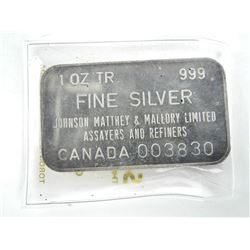 Vintage 999 Fine Silver Bar JM - Serialized 'Plain Back'