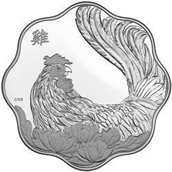 2017 .999 Fine Silver $15.00 Coin 'Lunar Lotus - Year of the Rooster' Scallop Edges Low Mintage
