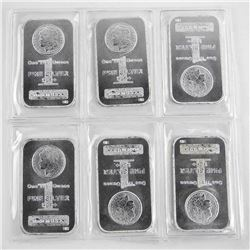 Lot (6) .999 Fine Silver One Troy Ounce Bars 6oz ASW