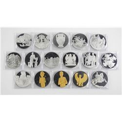 Franklin Mint Artistic Medal 16pc Collection 925 Sterling Silver 502 grams