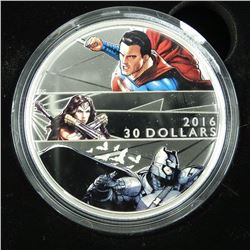 RCM 2016 .9999 Fine Silver $30.00 Coin ''Batman vs Superman' Dawn of Justice. DC Comics