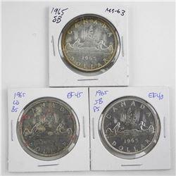 Group (3) 1965 Silver Dollars SB-P5, LB-B5 and SB