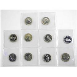 Lot (10) 1867-1967 Silver 25 Cent Specimen