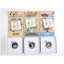 Group of (3) .9999 Fine Silver $10.00 Coins Warner Bros - Looney Tunes'