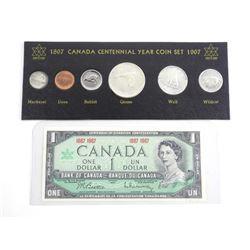 1867-1967 Canada Centennial Year Set Block Card, Plus 1.00 Note
