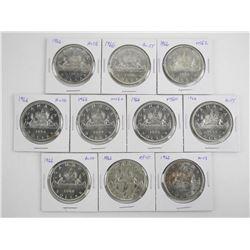 Lot (10) 1966 Canada Silver Dollars Graded
