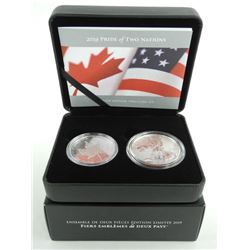 RCM 2019 PRIDE OF TWO NATIONS LE 2 Coin Set - .9999 Fine Silver RCM and USA Mint Joint Venture First