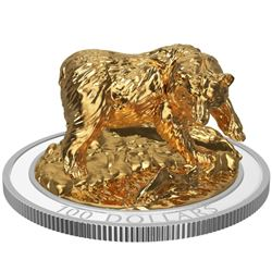 RCM 2017 100.00 Sculpture of Majestic Canadian Animals Series 'Grizzly Bear' 3-D Bear, 24kt Gold Ove