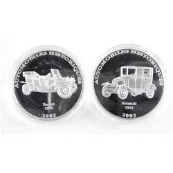 Lot (2) .9999 Fine Silver 10 Francs Historical Automobiles Proof - LE