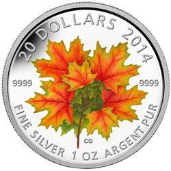 2014 .9999 Fine Silver $20.00 Coin 'Maple Leaves' LE/C.O.A.