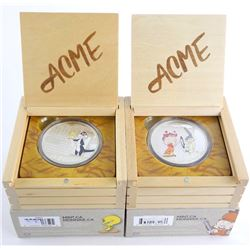 Warner Bros/RCM Looney Tunes 2x .9999 Fine Silver $30.00 Coins with Wood Crate Display LE/C.O.A. Elm