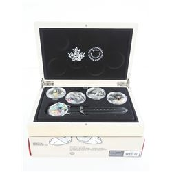Warner Bros/RCM Looney Tunes 4 Coin x 20.00 .9999 Fine Silver and Special Edition Watch Set Wood Cas