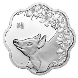 2019 .9999 Fine Silver $15.00 Coin 'Lunar Lotus' Year of the Pig. LE/C.O.A.