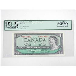 Bank of Canada 1954 One Dollar Note *Replacement Note PCGS Gem New Covered Bridge Collection