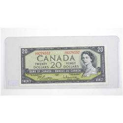 Bank of Canada 1954 Twenty Dollar Note. Modified Portrait. B/R