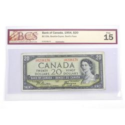 Bank of Canada 1954 Twenty Dollar Note. Devil's Face. Fine 15. BCS