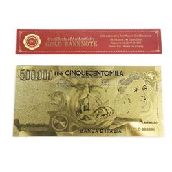 9999 24kt Gold Leaf Note 500,000 Lire 'Italy'
