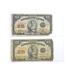 Lot (2) Dominion of Canada 1923 Twenty Five Cent Note. 2 Signature Sets
