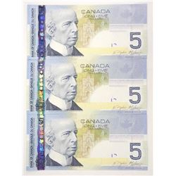 Lot (3) 2006 Bank of Canada Five Dollar Note (HPU) Choice UNC in Sequence