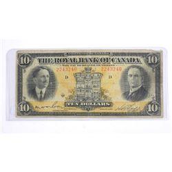 Royal Bank of Canada 1927 Ten Dollar Note.