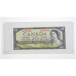 Bank of Canada 1954 Twenty Dollar Note. Modified Portrait. B/R