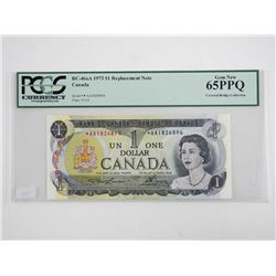 Bank of Canada 1973 One Dollar Note *Replacement Note PCGS GEM UNC 65 (AA) Covered Bridge Collection
