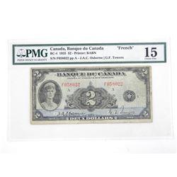 Canada Banque Du Canada 'FRENCH' 1935 Two Dollar Fine 15. PMG. Osborne-Towers
