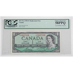 Bank of Canada 1954 One Dollar Note *Replacement Note PCGS UNC 58