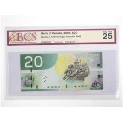 Bank of Canada 2004 Twenty Dollar Note. Printed in 2006. Folding Error VF25. BCS