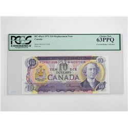 Bank of Canada 1971 Ten Dollar Note *Replacement Note PCGS UNC 63 (DA) Covered Collection