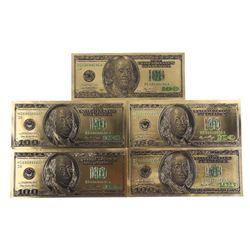 Lot (5) USA 24kt Gold Leaf 100.00 Notes