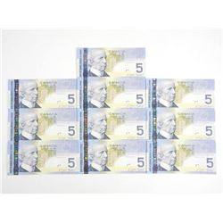 Lot (10) 2006 Bank of Canada Five Dollar Note (HPU) 10 In Sequence UNC