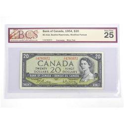 Bank of Canada 1954 Twenty Dollar Note. VF25. BCS