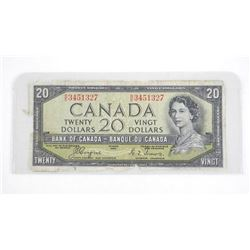 Bank of Canada 1954 Twenty Dollar note. Devil's Face with C.O.A.