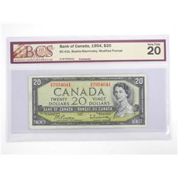 Bank of Canada 1954 Twenty Dollar Note Modified Portrait. Fine 20. BCS