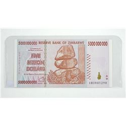 Genuine - Reserve Bank of Zimbabwe Five Billion Dollars 2008 Serialized