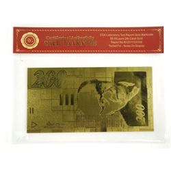 .9999 24kt Gold Leaf 200.00 Israel Note